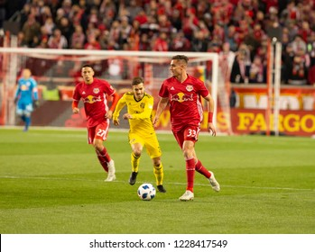 Harrison, NJ - November 11, 2018: Aaron Long (33) of Red Bulls controls ball during 2nd leg MLS Cup Eastern Conference semifinal game against Columbus Crew SC at Red Bul Arena Red Bulls won 3 - 0