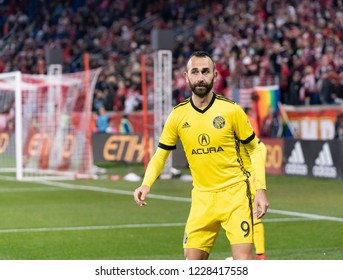 Harrison, NJ - November 11, 2018: Justin Meram (9) of Columbus Crew SC watches the ball during 2nd leg MLS Cup Eastern Conference semifinal game against Red Bulls at Red Bul Arena Red Bulls won 3 - 0
