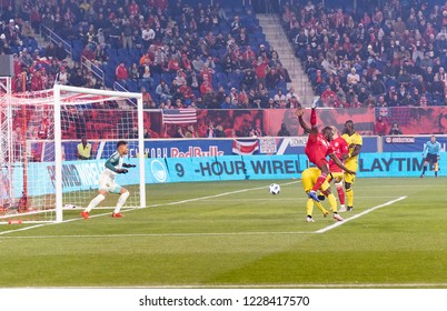 Harrison, NJ - November 11, 2018: Kemar Lawrence (92) of Red Bulls attacks during 2nd leg MLS Cup Eastern Conference semifinal game against Columbus Crew SC at Red Bul Arena Red Bulls won 3 - 0