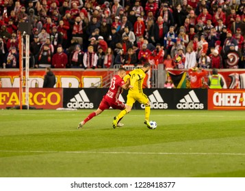 Harrison, NJ - November 11, 2018: Justin Meram (9) of Columbus Crew SC controls the ball during 2nd leg MLS Cup Eastern Conference semifinal game against Red Bulls at Red Bul Arena Red Bulls won 3 - 0