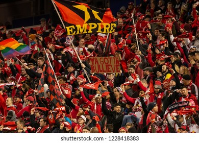 Harrison, NJ - November 11, 2018: Red Bulls fans greet before 2nd leg MLS Cup Eastern Conference semifinal game between Red Bulls and Columbus Crew SC at Red Bul Arena Red Bulls won 3 - 0
