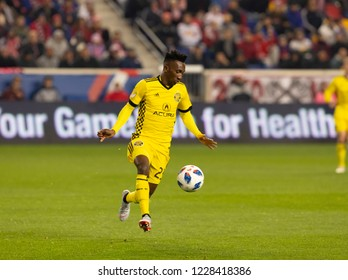 Harrison, NJ - November 11, 2018: Harrison Afful (25) of Columbus Crew SC controls ball during 2nd leg MLS Cup Eastern Conference semifinal game against Red Bulls at Red Bul Arena Red Bulls won 3 - 0