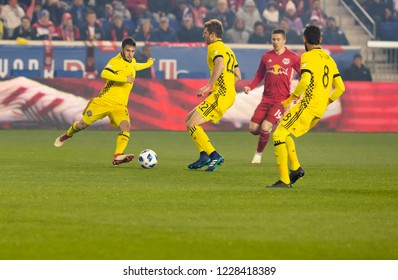 Harrison, NJ - November 11, 2018: Milton Valenzuela (19) of Columbus Crew SC kicks ball during 2nd leg MLS Cup Eastern Conference semifinal game against Red Bulls at Red Bul Arena Red Bulls won 3 - 0