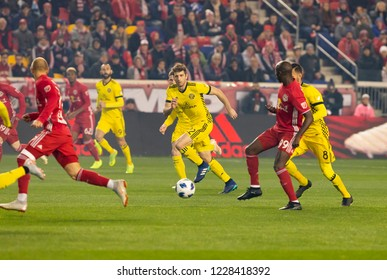 Harrison, NJ - November 11, 2018: Gaston Sauro (22) of Columbus Crew SC controls ball during 2nd leg MLS Cup Eastern Conference semifinal game against Red Bulls at Red Bul Arena Red Bulls won 3 - 0