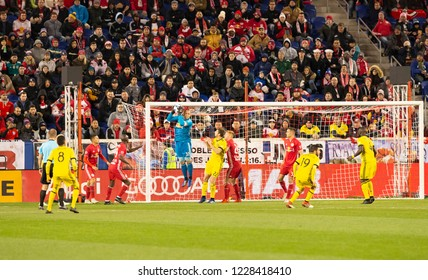 Harrison, NJ - November 11, 2018: Luis Robles (31) of Red Bulls saves during 2nd leg MLS Cup Eastern Conference semifinal game against Columbus Crew SC at Red Bul Arena Red Bulls won 3 - 0