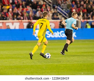 Harrison, NJ - November 11, 2018: Pedro Santos (7) of Columbus Crew SC controls ball during 2nd leg MLS Cup Eastern Conference semifinal game against Red Bulls at Red Bul Arena Red Bulls won 3 - 0
