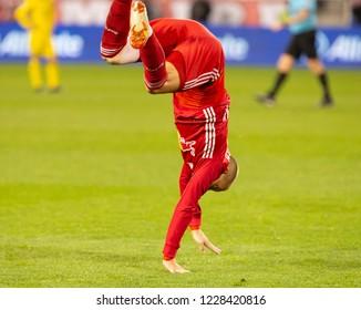 Harrison, NJ - November 11, 2018: Daniel Royer (77) of Red Bulls celebrates scoring goal during 2nd leg MLS Cup Eastern Conference semifinal game against Columbus Crew SC at Red Bull Arena