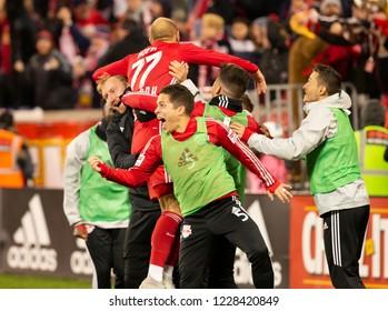 Harrison, NJ - November 11, 2018: Daniel Royer (77) of Red Bulls celebrates scoring goal during 2nd leg MLS Cup Eastern Conference semifinal game against Columbus Crew SC at Red Bul Arena