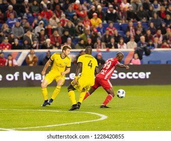 Harrison, NJ - November 11, 2018: Bradley Wright-Phillips (99) of Red Bulls controls ball during 2nd leg MLS Cup Eastern Conference semifinal game against Columbus Crew SC at Red Bull Arena
