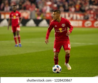 Harrison, NJ - November 11, 2018: Alejandro Romero Gamarra Kaku (10) of Red Bulls controls ball during 2nd leg MLS Cup Eastern Conference semifinal game against Columbus Crew SC at Red Bull Arena