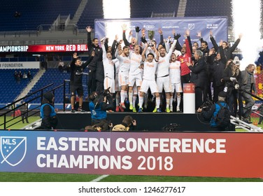 Harrison, NJ - November 29, 2018: Atlanta United team and officials celebrate winning MLS Cup Eastern Conference final against Red Bulls at Red Bull Arena United won 3 - 1 on agregate