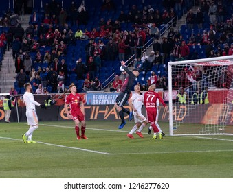 Harrison, NJ - November 29, 2018: Goalkeeper Brad Guzan of Atlanta United saves during 2nd leg MLS Cup Eastern Conference final against Red Bulls at Red Bull Arena United won 3 - 1 on agregate