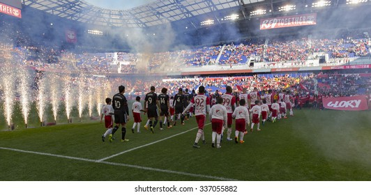Harrison, NJ - November 8, 2015: Atmosphere at the stadium during opening ceremony at playoff conference semifinal between New York Red Bulls and D.C. United on Red Bulls Arena