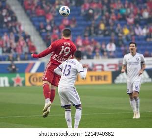 Harrison, NJ - October 28, 2018: Alex Muyl (19) of Red Bulls controls ball during last regular MLS game against Orlando City FC at Red Bull Arena Red Bulls won 1 - 0