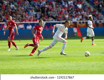 Harrison, NJ - September 30, 2018: Darlington Nagbe (6) of Atlanta United FC controls ball during regular MLS game against Red Bulls at Red Bull Arena Red Bulls won 2 - 0