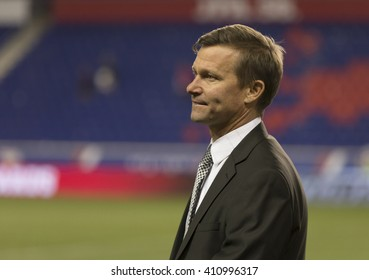 Harrison, NJ USA - April 24, 2016: New York Red Bulls head coach Jesse Marsch stand on the Red Bulls arena field after Red Bulls defeated Orlando City SC with score 3-2