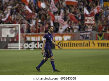 Harrison, NJ USA - August 12, 2017: Kaka (10) of Orlando City SC leaving pitch after receiving red card during MLS regular season game against Red Bulls at Red Bull arena Red Bulls won 3 - 1