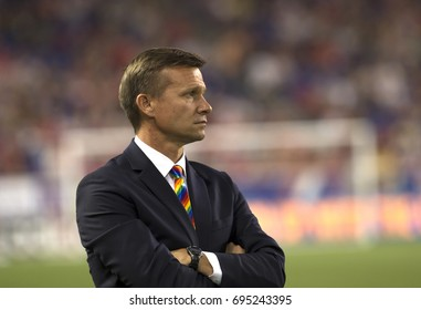 Harrison, NJ USA - August 12, 2017: Coach Jesse Marsch of Red Bulls watches during MLS regular season game against Orlando CIty SC at Red Bull arena Red Bulls won 3 - 1