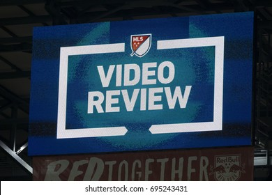 Harrison, NJ USA - August 12, 2017: Billboard display message video review during MLS regular season game between Orlando City SC & Red Bulls at Red Bull arena Red Bulls won 3 - 1