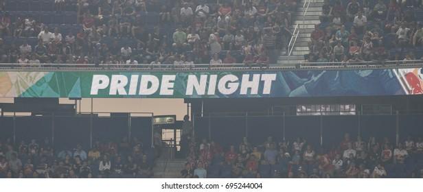 Harrison, NJ USA - August 12, 2017: Red Bulls celebrate Pride Night during MLS regular season game against Orlando CIty SC at Red Bull arena Red Bulls won 3 - 1