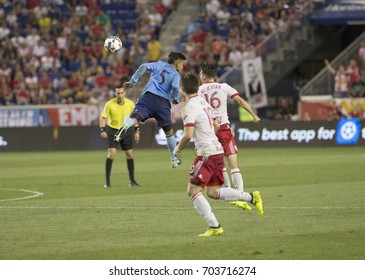 Harrison NJ USA - August 25, 2017: Mikey Lopez (5) of NYC FC controls air ball during MLS regular game against New York Red Bulls at Red Bulls Arena final score 1 -1
