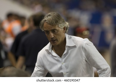 Harrison, NJ USA - July 27, 2016: FC Inter manager Roberto Mancini attends friendly game between FC Inter Milan & Estudiantes de La Plata at Red Bulls Arena ended in tie 1 -1