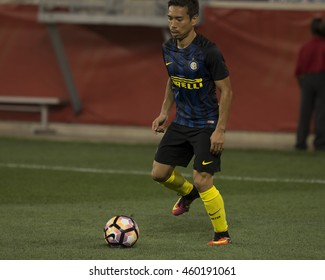 Harrison, NJ USA - July 27, 2016: Nagamoto (55) of FC Inter controls ball during friendly game between FC Inter Milan & Estudiantes de La Plata at Red Bulls Arena ended in tie 1 -1