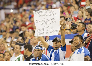 Harrison, NJ USA - July, 7, 2017: Fans of Costa Rica National team and Honduras National team attend CONCACAF Gold Cup group stage game at Red Bulls Arena Costa Rica won 1 - 0