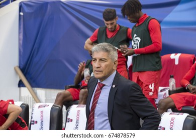 Harrison, NJ USA - July 7, 2017: Head coach of Canada National team Octavio Zambrano attends CONCACAF Gold Cup group stage game against French Guiana national team at Red Bulls Arena Canada won 4 - 2