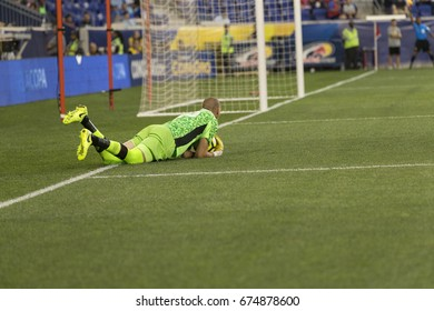 Harrison, NJ, USA - July 7, 2017: Goalkeeper Milan Borjan (18) of Canada National team saves during CONCACAF Gold Cup group stage game against French Guiana national team at Red Bulls Arena