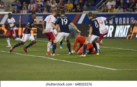 Harrison, NJ USA - May 27, 2017: Bradley Wright-Phillips (99) of Red Bulls scores goal during MLS game against New England Revolution on Red Bull Arena, Red Bulls won 2 - 1