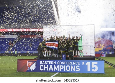Harrison, NJ USA - November 29, 2015: Team Columbus  Crew SC celebrate winning Eastern Conference cup in MLS playoff series against New York Red Bulls