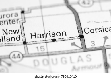 Harrison. South Dakota. USA on a map.