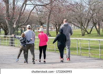 Harrison Township, Michigan / USA - April 26-2020: Michigan Metro Park activity during the Covid-19 Corona Virus