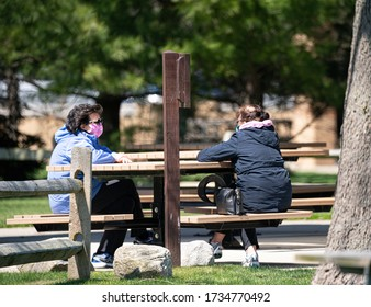 Harrison Township, Michigan / USA - May 13 -2020: Michigan Metro Park activity during the Covid-19 Corona Virus