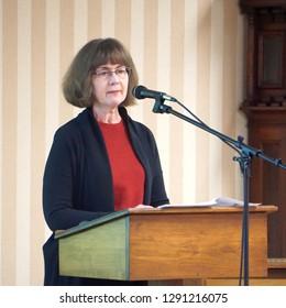 Harrisonburg, VA, USA -01/10/2019: Mary Kay Adams speaks to an Elder Exchange audience