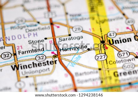 Harrisville Indiana USA On Map Stock Photo (Edit Now