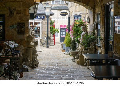 Harrogate, North Yorkshire, UK.7.6.2020.The Montpellier Quarter central courtyard with Antique, Coffee and sweet shops.