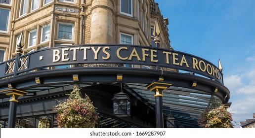 HARROGATE, UK, - MARCH, 30, 2019: Betty's Tea Rooms in Harrogate town centre in Yorkshire, England.