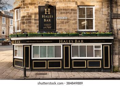 HARROGATE, UK - NOVEMBER 17, 2012: Exterior view of Hales Bar pub and restaurant in Harrogate, North Yorkshire, UK