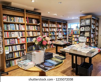 HARROGATE, UK - NOVEMBER 18, 2018: Interior of a book shop. Harrogate is a spa town in North Yorkshire, England.