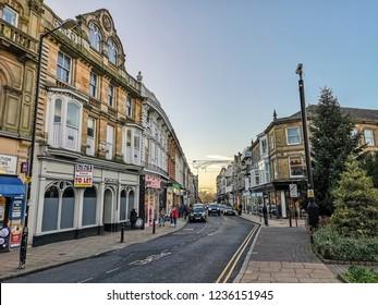 HARROGATE, UK - NOVEMBER 18, 2018: The main shopping area of Harrogate. Harrogate is a spa town in North Yorkshire, England.