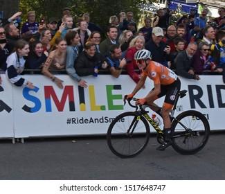 Harrogate U.K. Sept 28 2019 Annemiek van Vleuten Riding to take the Gold Medal in the Women's Elite UCI 2019 World Championship Road Race.