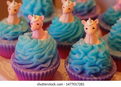 Harrogate,North Yorkshire,England.8.12.2019.Pink,blue,and purple,Unicorn Tears Soap Cupcakes,Yorkshire Soap Co.