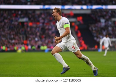 Harry Kane of England celebrates after scoring his sides second goal, putting England 2-1 ahead - England v Croatia , UEFA Nations League - Group A4, Wembley Stadium, London - 18th November 2018