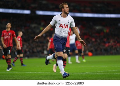 Harry Kane of Tottenham Hotspur celebrates after scoring the opening goal - Tottenham Hotspur v Southampton, Premier League, Wembley Stadium, London (Wembley) - 5th December 2018