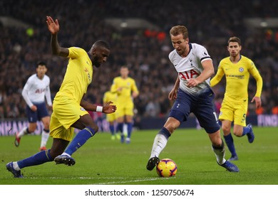 Harry Kane of Tottenham Hotspur takes on Antonio Rudiger of Chelsea - Tottenham Hotspur v Chelsea, Premier League, Wembley Stadium, London (Wembley) - 24th November 2018