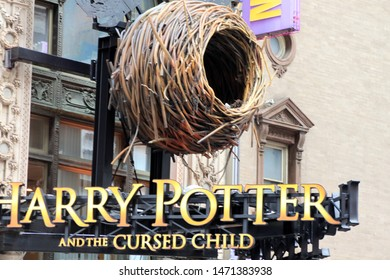 Harry Potter and the cursed child,  Front of The lyric theatre at 214 W 43rd New York City with large advertisement for Harry Potter and the Cursed Child play August 5 2019