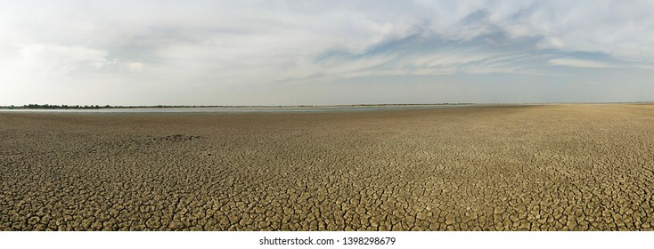 Harsh Summer at Runn of Kutch Gujarat India - Dried Water Body, water reserves