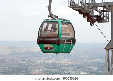 HARTBEESPOORT, SOUTH AFRICA - CIRCA NOVEMBER 2016: Car coming to the top of Magaliesberg on the Hartbeespoort Aerial Cableway